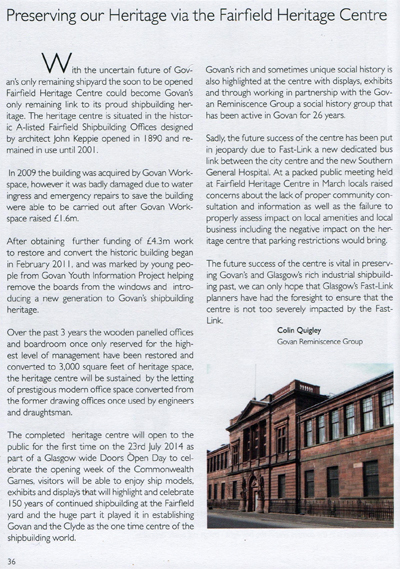Reminiscence Group article in Govan Fair Programme 2014